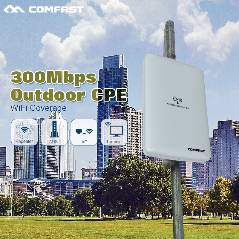 ФОТО COMFAST 300M Long range Outdoor WIFI Repeater Router Wi fi access point waterproof 16dbi Antenna wi fi CPE network Bridge router