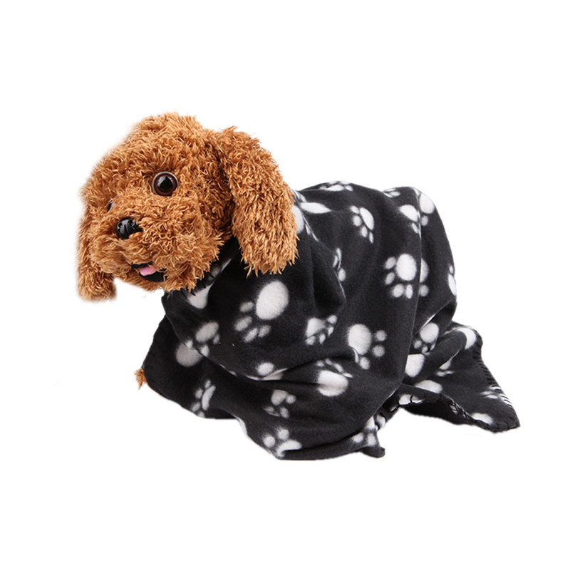 Pet Soft Warm Paw Print Blanket Dog Puppy Cat Bed Mat Cover Cushion Waterproof