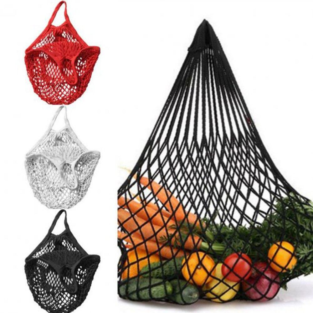 1 Stück Mehrweg String Einkaufen Lebensmittel Tasche Shopper Tote Mesh Net Woven Baumwolle Tasche Hand Totes Weniger Teuer
