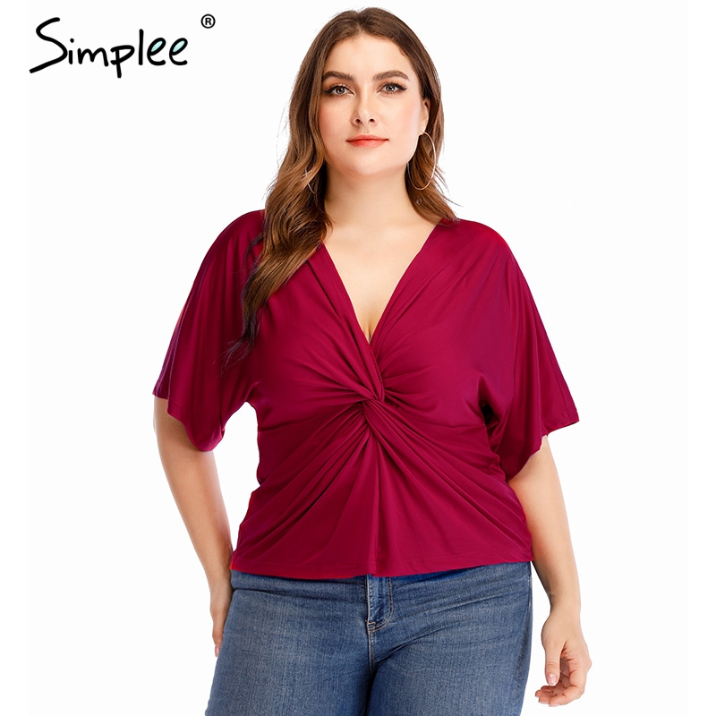 Simplee Sexy Elegant V Neck Plus Size Blouse Shirt Women Green Fitness Club Blouses And Tops Summer Casual Solid Ladies Tops
