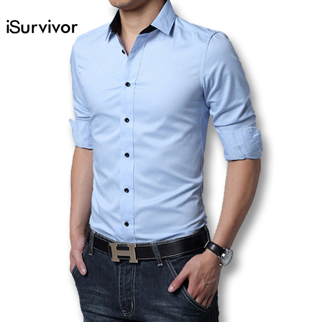 2017 Men Dress Shirt Elegant Comfort Long Sleeve Men Shirt Cotton ...
