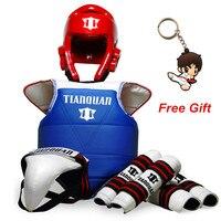 Hot Sale Adult Children Thickening Taekwondo Protector 5 Piece HeadGear Helmet Full protective Taekwondo Guard Bag 0235