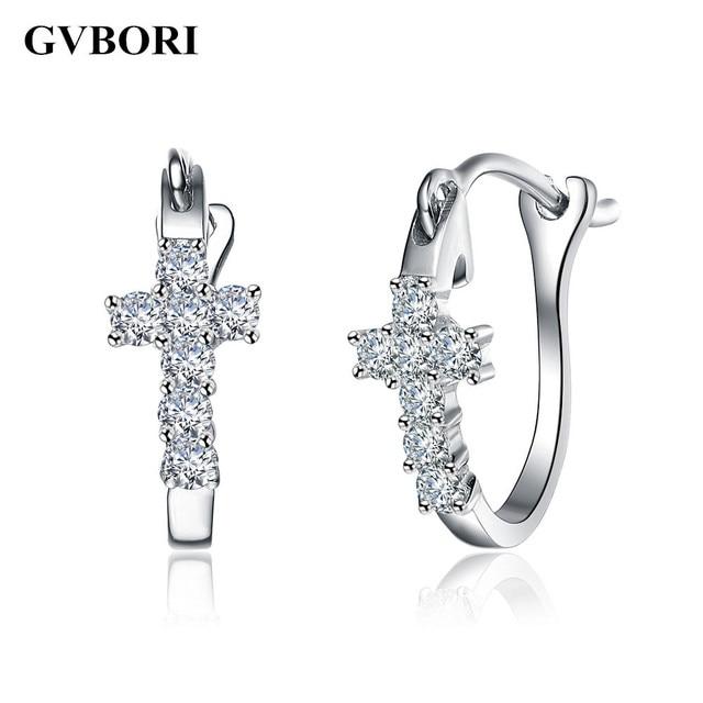 f4e1442d € 254.47 5% de DESCUENTO|Cruz 0,2 quilates pendientes de diamante Natural  Cruz pendientes de aro joyería para mujeres muy buen corte 18 K oro ...