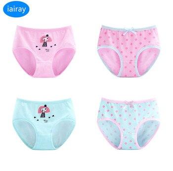 39049a7bc144 4 unids/lote polka dot algodón tela Rosa ropa interior niñas bragas para  niños niñas adolescentes ropa calzoncillos Calzoncillos para 3 -12 T