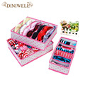 3PCS In Set Rose Dot Non-woven Design Home Folding Storage Box For Underwear Sock Bra Ties Organizer Drawer Divider Container