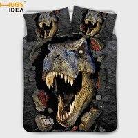 HUGSIDEA Dinosaur 3d Bedding Set for Kids Cartoon Bed Cover Single Boys Duvet Cover Set Jurassic Printed Bedclothes Quilt Cover