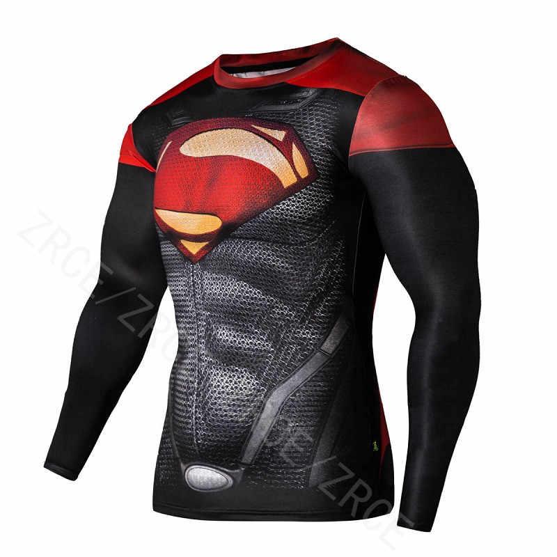 Camicia di compressione di Allenamento Per Il Fitness Training Uomini Cosplay Rashgard Più Il Formato Bodybuilding T Shirt 3D Stampato Superman Magliette e camicette Per Il Maschio