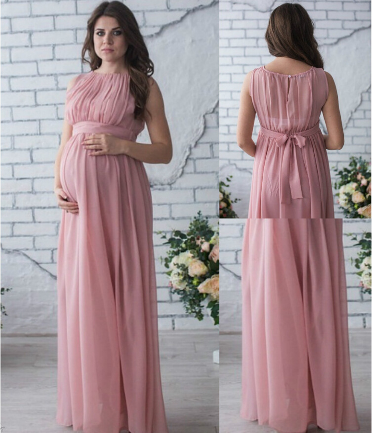 Maternity Photography Props Dress Pregnancy Sleeveless Clothes Maxi Photography Chiffon Dresses Maternity For Pregnant Women stylish strapless sleeveless ombre color maxi dress for women page 7