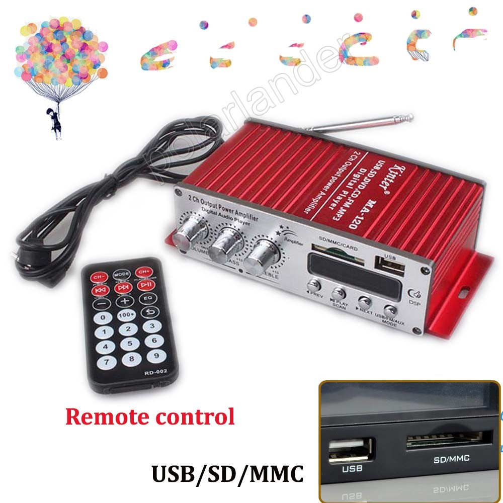 US $18 16 11% OFF NEW 12V MA120 mini USB Car auto vehicle Motorcycle  Amplifier Digital MP3 Player FM Radio 2ch output power amplifier 20WX2-in