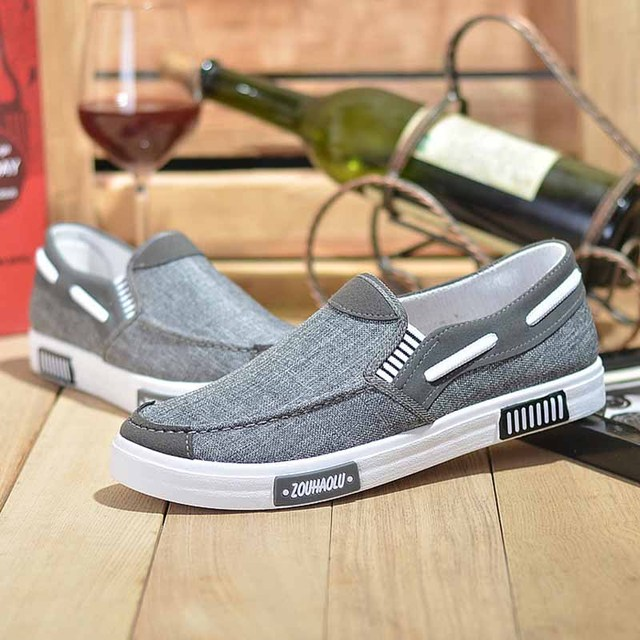 2020 Summer Canvas Men's Shoes Breathable Driving Shoes Men Casual Soft-soled Shoes Comfortable Wild Men's Shoes Slip on Loafers