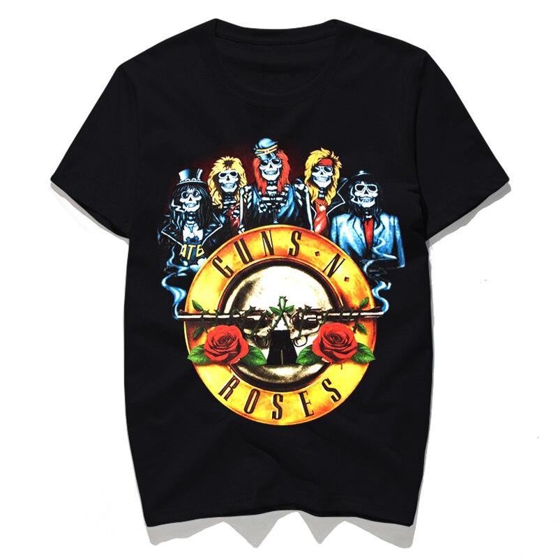 Rocksir 2017 Guns N Rose Skull with flowers Band series punk rock Men t-shirt Heavy Metal music style Men tops hot sale men tees