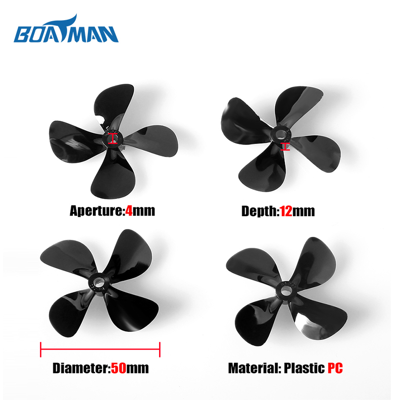 Plastic boat propeller 4blades small size rc boat propeller for bait boat fishing line