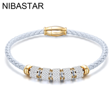 Fashion womens fashion jewelry woven leather rope stainless steel bracelet gold / silver punk