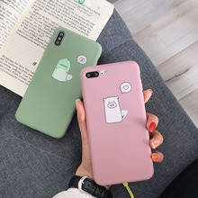 Lovely Phone Case for iPhone 7Plus 6 6plus 6s 6splus 7 8 8Plus X XR XS Max thickening Soft TPU frosted touch cute piglet pattern
