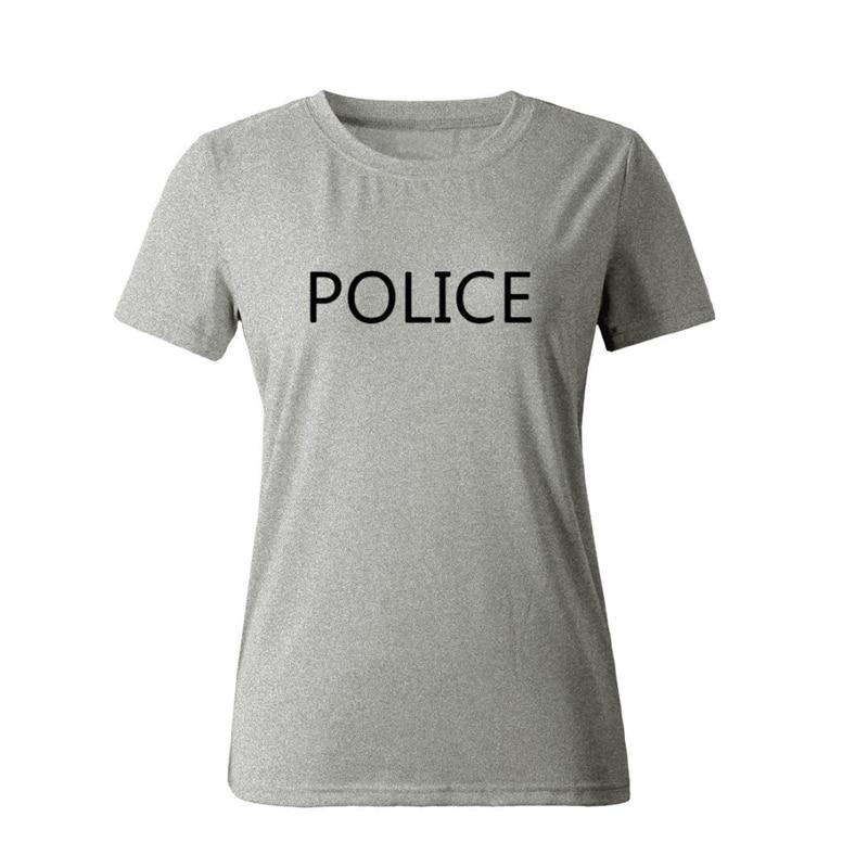 2018 nieuwe tops POLITIE Brief Print t-shirt Dames Sexy tees Mode - Dameskleding - Foto 3