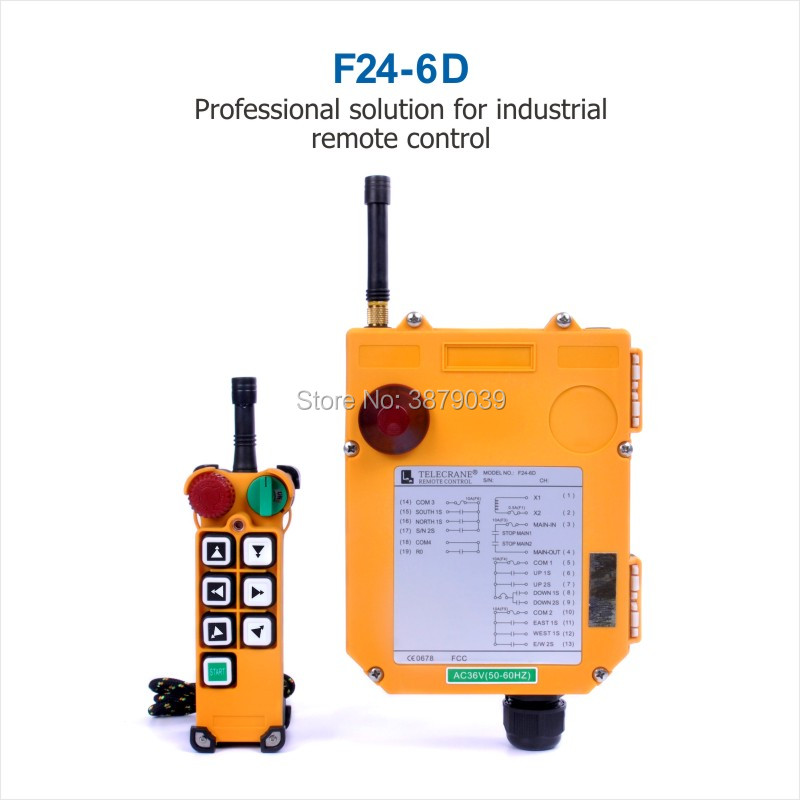 TELECRANE Industrial Wireless Radio Double Speed 6 Buttons F24-6D Remote Control (1 Transmitter+1 Receiver) for Crane telecrane industrial wireless radio single speed 8 buttons f21 e1b remote control 1 transmitter 1 receiver for crane