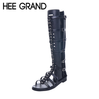HEE GRAND Brand Fashion Rivet Summer Gladiator Sandals Woman Flat With Shoes Buckle Frework Boots XWZ4201