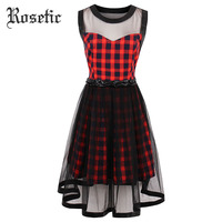 Rosetic Gothic Dress Red Plaid Women Summer A Line Casual Goth Dresses Vintage O Neck Mesh