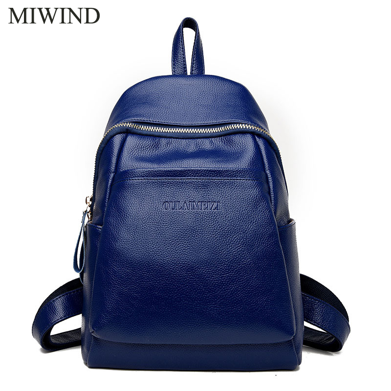 2017 MIWIND Women Backpack Genuine Leather Backpacks Softback Bags Brand Name Bag Cow Leather Backpacks Girls Backpack WUB090 cardamom genuine leather backpacks cow leather famous brand women s bags girls fashion bag travel bags students backpack