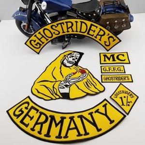 Image 2 - Mc1931 7 Stks/set Ghostriders Duitsland Geborduurde Patch Iron On Naai Terug Biker Rider Patch Voor Jas Vest Gratis verzending