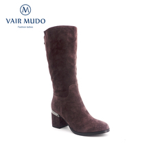 VAIR MUDO High Quality  Knee-High Woman Boots Genuine Leather Round Toe Short Plush Warm Winter Square Heel Lady Boots ZT1 woman genuine leather platform square heel knee high boots round toe side zipper dress winter boots black