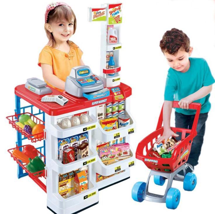 Kids Toy Supermarket Shopping Cart Toys Girl Play Simulation