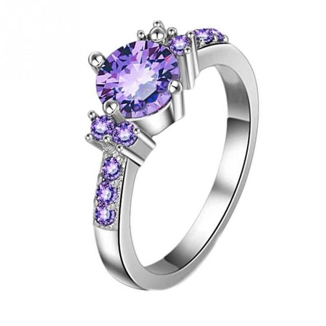 Hot Selling 1PC Ffashion Deep Purple Silver Zircon Stone Women Girl Ring For Wedding Party Birthday