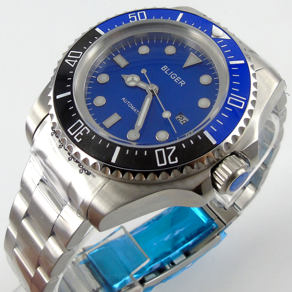 Bliger 44mm blue Sterile dial blue &black Ceramic Bezel automatic mens watch