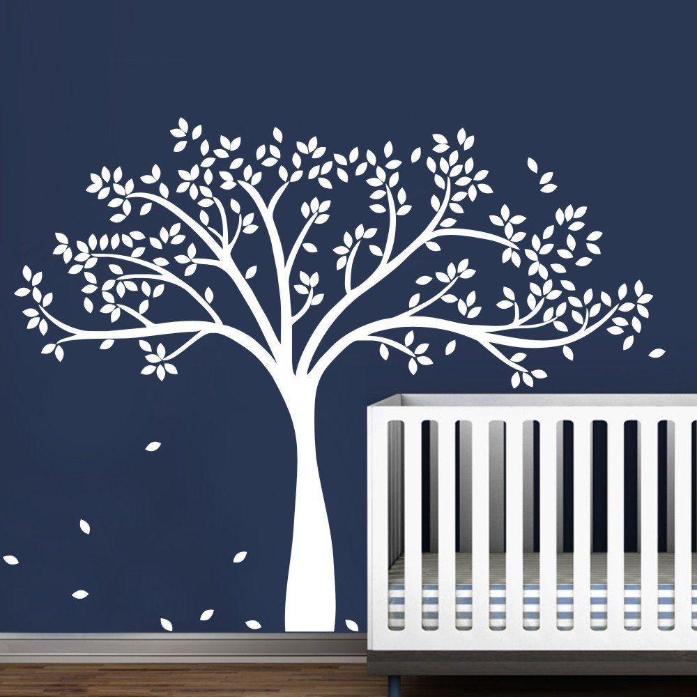 Wall Decal Vinyl Sticker Large White Tree Custom Any Color For Kids Baby Bedroom Art Decoration