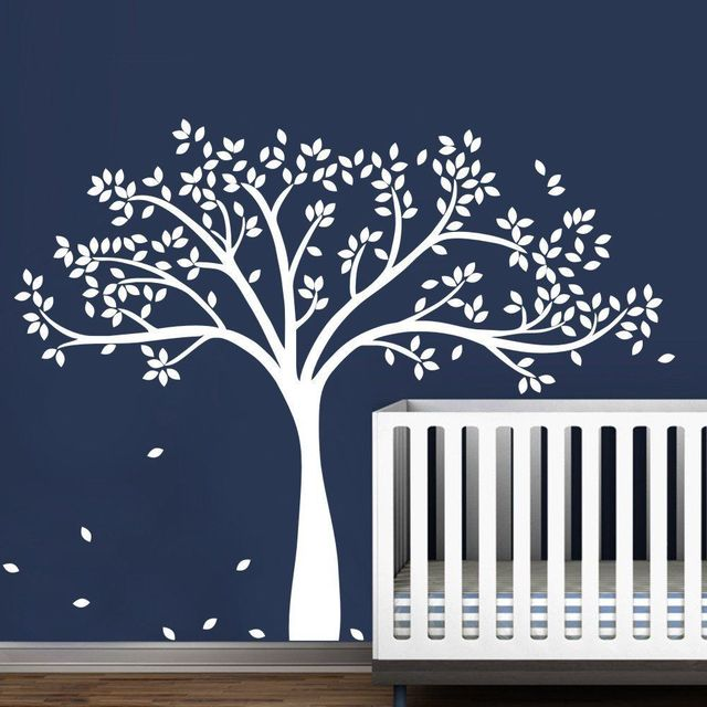 Wall Decal Vinyl Sticker Large White Tree Custom Any Color For Kids Baby Bedroom Art Decoration Nursery DIY Poster Mural Y-932