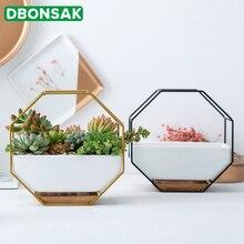 New Metal Iron Rack White Ceramic Planter Pot Simple Octagonal Geometric Wall Hanging Flower Bamboo Tray Frame