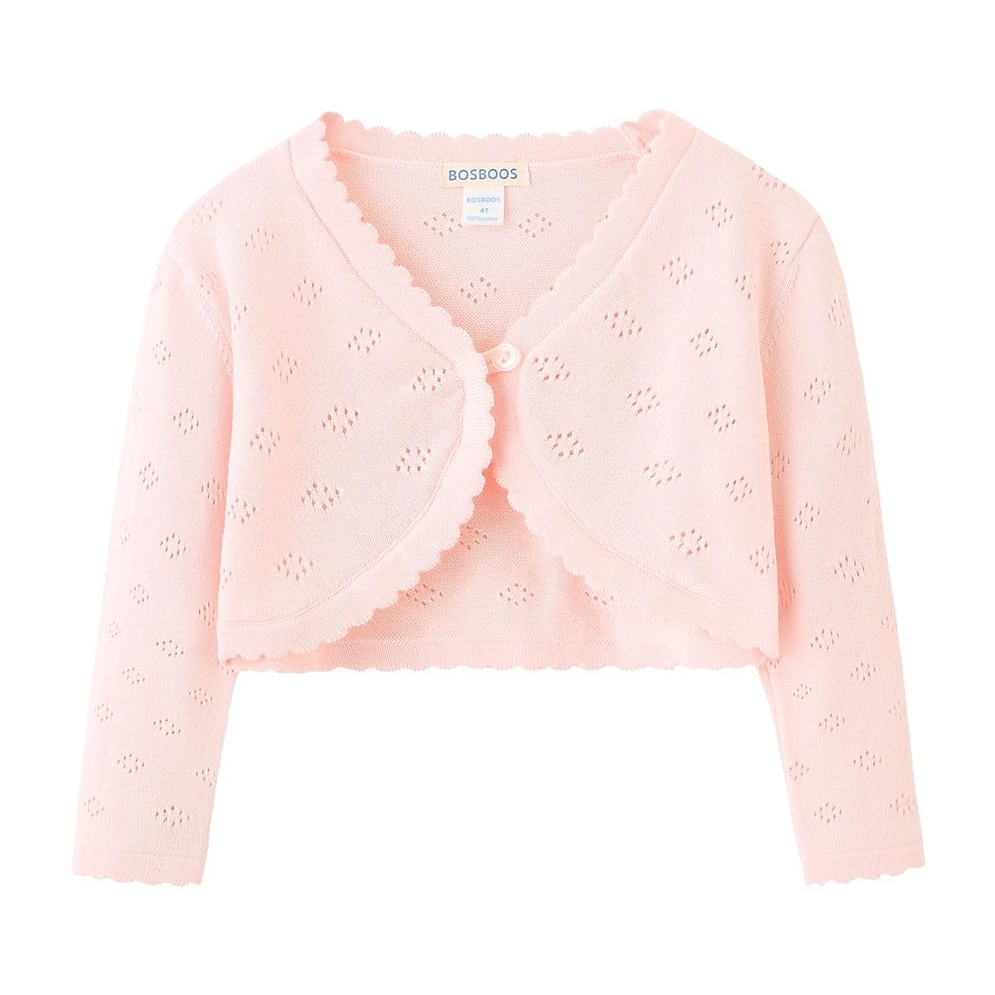 BOSBOOS Little Girls Long Sleeve 100% Cotton Solid Knit Bolero Cardigan Shrug Sweaters For Birthday Party