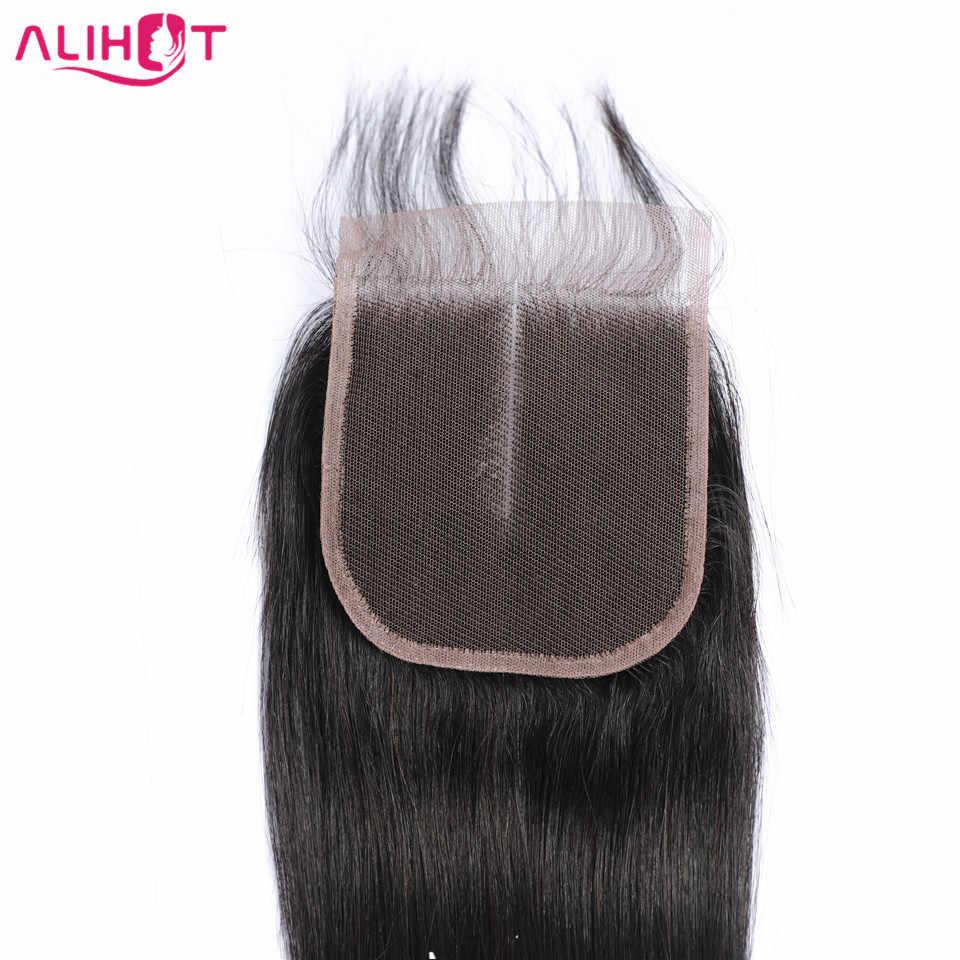 Али Горячая прямая кружевная застежка малазийский натуральный цвет 4*4 свободный/средний/три части не Реми человеческие волосы закрытие 8 до 22 дюймов
