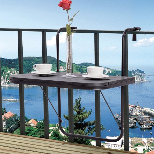 Goplus Adjustable Folding Deck Table Patio Balcony Serving Table Stand  Hanging Railing Coffee Table Home Portable