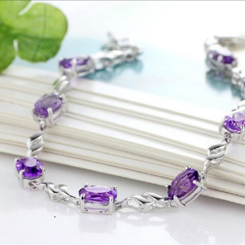 Silver Fashion Jewelry Purple Charm Bracelet  For Women Fine Lucky Sliver Personality