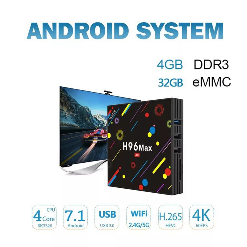 DJYG H96 MAX -H1 Android 7.1 TV Box 4GB RAM 32GB ROM Set Top RK3328 2.4G/5G Wifi Bluetooth 4.0 4K H.265 Media Player pk h96