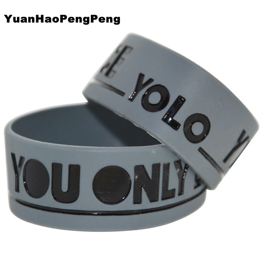 Grey YOLO Silcone Wristband You Only Live Once!