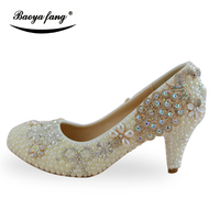 Women Wedding Shoes Ivory Pearl Peacock Party Dress Shoes Fashion Ladies Shoes Bride Platform Shoes 2017