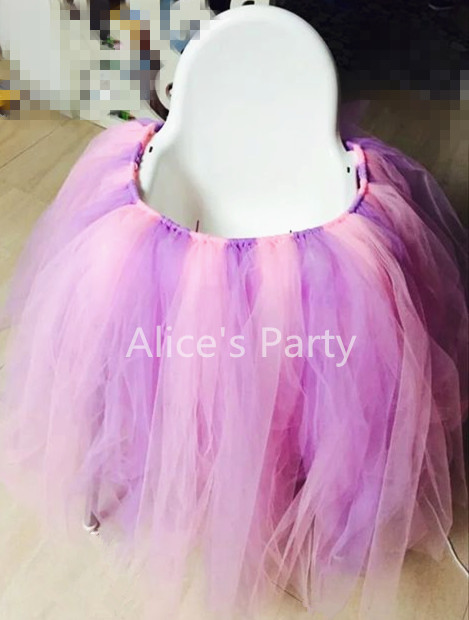 Handmade Lavender Pink Girl Highchair Bunting Tutu Tulle Banner First Birthday Flag Baby 1st Party Decorations Nursery Garland