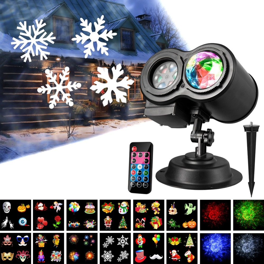 2018 New Pattern and Water Wave Dual Tubes LED Projector Lights for Indoor Outdoor Party Easter Halloween Christmas Decorations цена 2017