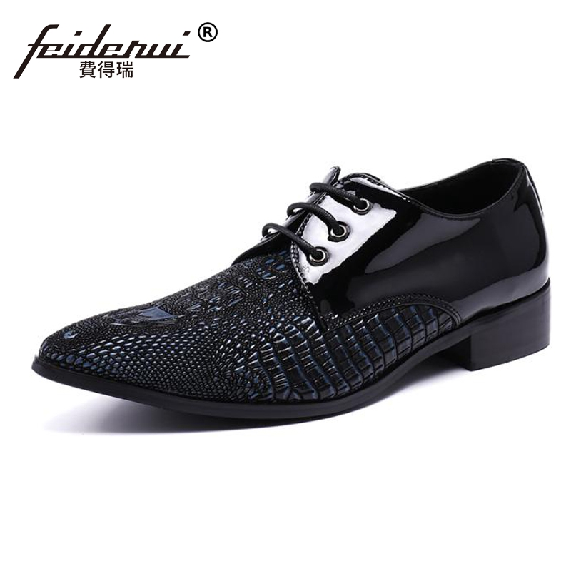 Plus Size Black Pointed Toe Derby Man Footwear Luxury Designer Patent Leather Alligator Wedding Party Men's Runway Shoes SL97 plus size fashion pointed toe derby man runway footwear italian designer patent leather wedding party men s runway shoes sl435