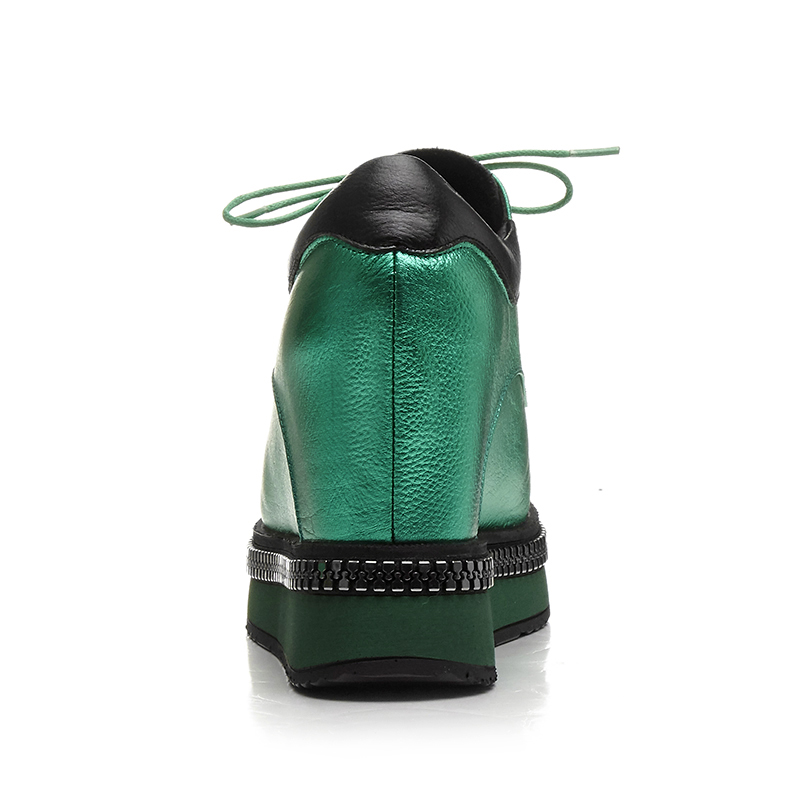 2017 Cm 10 Dentelle forme Femme Hauteur Coins Rond up Automne Pour Printemps Plate Nouveau Bout Talons Cuir green Mode Accrue En Black Haute Chaussures Véritable dBFxU01