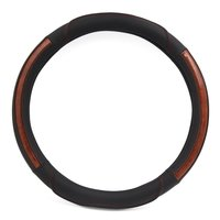 uxcell Black Brown Faux Leather Wood Grain Design Car Steering Wheel Cover Glove 38cm