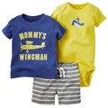 2016 3 peças/lote meninos originais do bebê animal padrão aircraft clothing, (Camisa de Manga curta + calça) Bebê bebes Menino Roupas de Verão