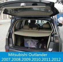 Para mitsubishi outlander 2007-2012 posterior del tronco seguridad cargo cover escudo escudo de seguridad de carga maletero del coche sombra cubierta de seguridad