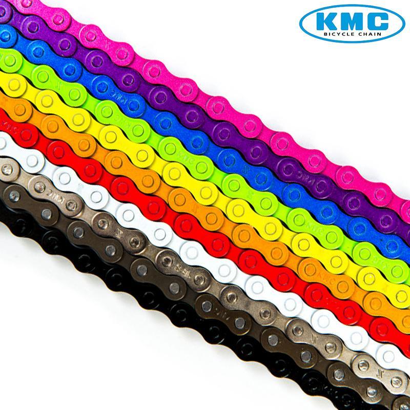 "KMC Z410 1//2/"" X 1//8/"" 112L BMX FIXED SINGLE SPEED YELLOW BIKE CHAINS--1 PAIR"