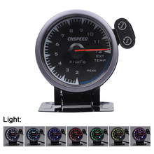CNSPEED Shark pin 2.5 60mm 12V Exhaust Gas Temp Meter EXT Gauge for honda Car With 7 Colors Universal