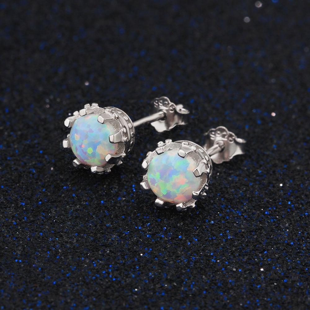 Runde Oprettet Hvid Fire Opal 7mm 925 Sterling Sølvøreringe Kvinder - Smykker - Foto 3