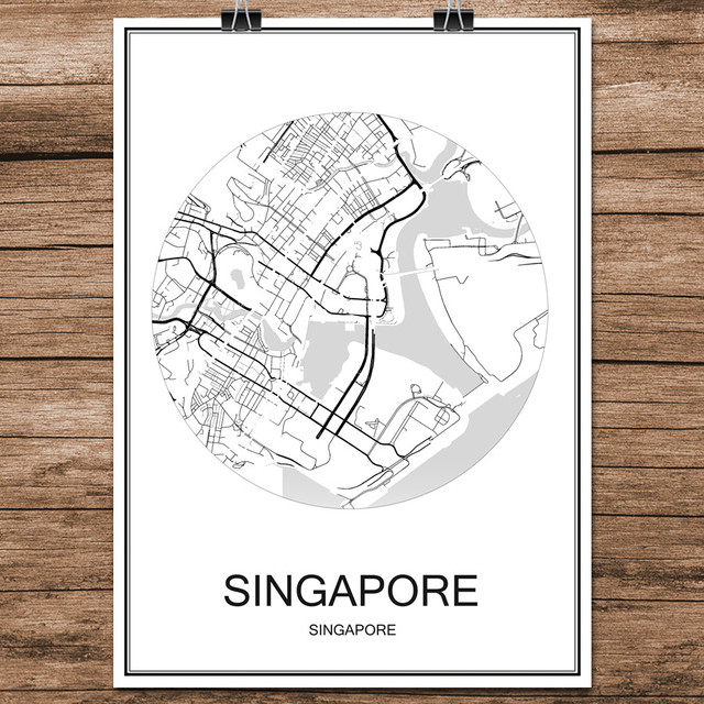 black white world city map of singapore print poster coated paper for cafe living room home