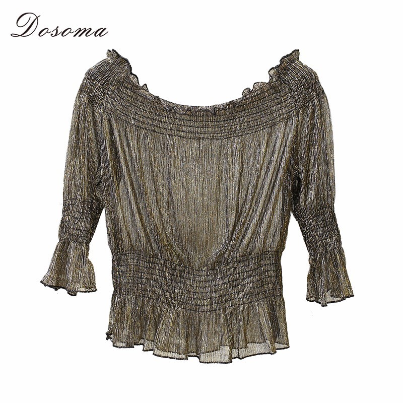 DOSOMA Gold Off Shoulder Chiffon Shirt For Women Tunic Elastic High Waist Tops Summer Slash Neck Femela Blouse Casual Korean